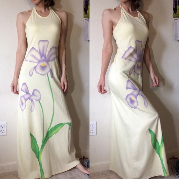 Vintage Dresses & Skirts - Vintage Cotton Pale Yellow Purple Iris Maxi Dress